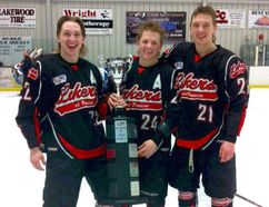 Grande Prairie brothers (left to right, shown here with the Fort Frances Lakers) Bryce, Lyndon and Kyle Lipinski will be playing together with the Minot State University Beavers men's hockey team next season. Twins Bryce and Lyndon, who play forward, recently completed their freshman campaign with the Beavers. Kyle, a defenceman, recently concluded the season with the County of Grande Prairie JDA Kings. Submitted