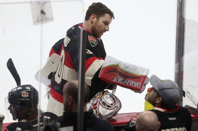 Ottawa Senators goalie Andrew Hammond takes a water break during a TV time out late in the third period against the Boston Bruins at the Canadian Tire Centre in Ottawa Thursday March 19,  2015. The Ottawa Senators defeated the Boston ruins 6-4.  Tony Caldwell/Ottawa Sun/QMI Agency