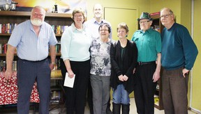 The Huron Haven Seniors Social Club received a grant for $24,000 through the New Horizons for Seniors Program on March 17. The funding will be put towards accessible washroom facilities and a new dishwasher. From left to right: Bob Mastin, Rose Irish, Huron-Bruce MP Ben Lobb, Carole McAlpine, Lynne Badley, Ed Rowe and Burt Corbett. Absent: Helen Kunert. (Steph Smith/Goderich Signal Star)