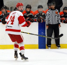 Owen Tippett, a hard-shooting right-winger from Peterborough, Ont., is among the top-rated prospects for the 2015 OHL Priority Selection on April 11. The Sudbury Wolves will draft first overall. theScout.ca photo