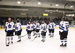 The London Nationals raise their sticks in a salute to their fans after losing Game 6 of their GOJHL semifinal 5-2 to the Leamington Flyers at the Western Fair Sports Centre on Friday night. The Nationals stirring playoff run came to an end as they lost the series 4-2. (CRAIG GLOVER, The London Free Press)