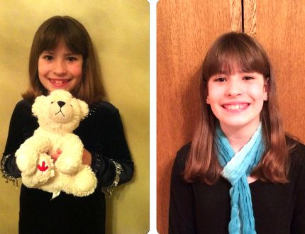 Maggie Sanders holds a stuffed animal given to her by a good friend to bring comfort as she navigated hospitals, therapy and daily injections after her diagnosis of juvenile arthritis. The photo on the right shows Maggie today, three years after her diagnosis and currently symptom-free. (Arthritis Society Photo)