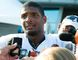 Michael Sam (96) addresses the press after practice at Rams Park in St. Louis, Missouri in this July 29, 2014 file photo. (REUTERS)