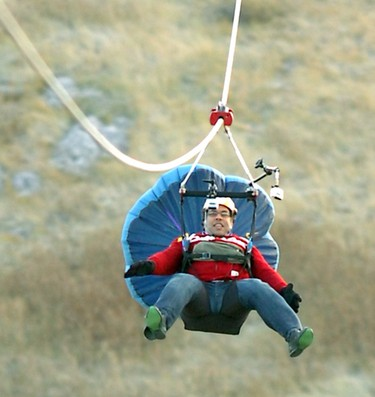 Alberta: The 500m long, 100m vertical drop ride at Canada Olympic Park in Calgary starts near the top of the 90m ski jumps and finishes near the base of the skihill. The zip line adventure lasts about 30 seconds. (QMI Agency/STUART DRYDEN)