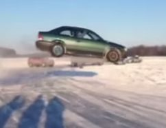 This viral YouTube video, showing a vehicle jumping an ice ramp in Gatineau, has netted a $1,293 fine for the driver. (YOUTUBE framegrab)
