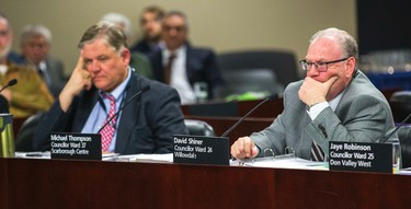 Coun. Jim Karygiannis (left) and  Coun. David Shiner during a meeting of the executive committee at city hall in Toronto, Ont. on Wednesday March 25, 2015. Ernest Doroszuk/Toronto Sun/QMI Agency