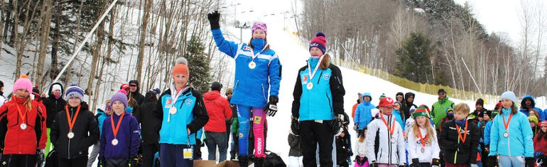 Alexandria Kidd, a member of the Elliot Lake Ski Racers team, on the podium having received her gold medal at the Muskoka Ski Club in Huntsville. Alexandria is the U12 Female Alpine Ontario slalom champion. For the story, check below,