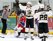 Trenton Golden Hawks' Brady Wiffen celebrates his first period goal against Kingston Voyageurs' goaltender Daniel Urbani during Game 1 of the Ontario Junior A Hockey League's North-East Conference final Friday in Trenton. Tim Meeks/The Trentonian