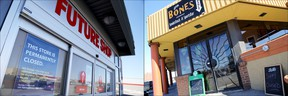 Future Shop and Dem Bones, both closed, are shown here Saturday, March 28, 2015.  Emily Mountney-Lessard/The Intelligencer/QMI Agency