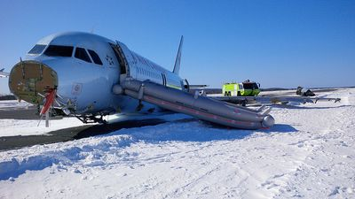 The damage on Air Canada Airbus A320 is seen after the plane skidded off the runway while attempting to land at Halifax International Airport on Sunday, March 29, 2015. (Transportation Safety Board of Canada/Supplied)