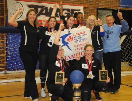 <p>The Ontario girls team won the gold medal in the Canadian Junior National Goalball Championship at W. Ross. Macdonald School on Sunday. Standing in the back from left: coach Jen McMillan, players Stela Trudeau, Gen Hart, Shawnelle Gregory, coach Annette Carman and Walter Gretzky. In front: Emma Reinke (left) and Meghan Mahon.</p><p>MICHAEL-ALLAN MARION / BRANTFORD EXPOSITOR / QMI AGENCY