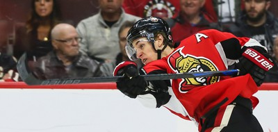 Ottawa Senators Kyle Turris unleashes a shot against the  Florida Panthers during NHL hockey action at the Canadian Tire Centre in Ottawa, Ontario on March 29, 2015. Errol McGihon/Ottawa Sun/QMI Agency