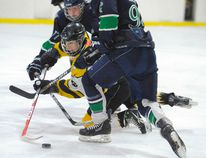 Conar McKenzie (in yellow) of the Waterford Midget Wildcats house league team #1 moved the puck during a game Sunday in the annual Nelson Emerson Midget LL Tournament. Waterford lost the game 7-0 to the Durham Crusaders. (DANIEL R. PEARCE Simcoe Reformer)