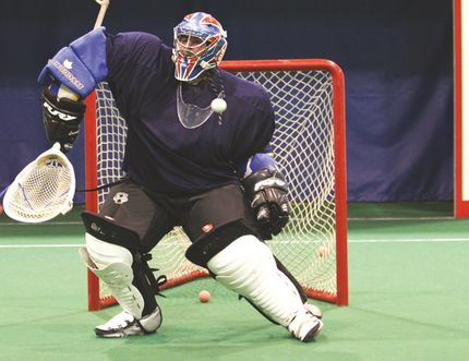 Logan Clow/Daily Herald-Tribune Chris Cann, 26, makes a save during a Grande Prairie Lacrosse Association drop-in game at the Leisure Centre on Thursday. The Grande Prairie Lacrosse Association held a drop-in for players to prepare for the upcoming season.