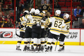 Bruins fans are hoping the team didn't jinx itself by announcing playoff tickets for sale. (Reuters)