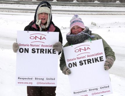 Northwest Local Health Integration Network workers and supporters walk the picket during a 16-day strike over wages in February. The workers, represented by the Ontario Nurses Association, achieved a new two-year contract through a binding arbitration agreement with their employer, the Northwest Community Care Access Centre. FILE PHOTO/Daily Miner and News