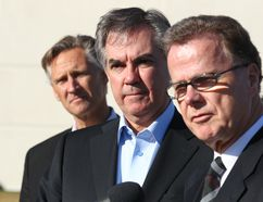 (L-R) Dave Rodney, MLA for Calgary-Lougheed, Alberta Premier Jim Prentice and Gordon Dirks, Minister of Education at the Genesis Centre in northeast Calgary, Alta on Tuesday March 31, 2015. The Alberta government committed to build new school projects worth $ 2 billion by 2018-19. Jim Wells/Calgary Sun/QMI Agency