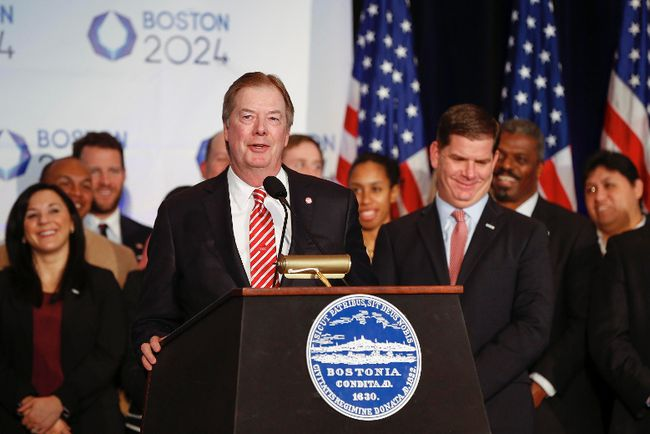 United States Olympic Committee president Lawrence F. Probst III flanked by Boston mayor Martin J. Walsh (right) , talks about the USOC selecting Boston as its applicant city to host the 2024 Olympic and Paralympic Games at the Boston Convention Center and Exhibition Center.  Greg M. Cooper-USA TODAY Sports