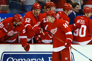 Mar 31, 2015; Detroit, MI, USA; Detroit Red Wings center Gustav Nyquist (14) receives congratulations from teammates after scoring in the second period against the Ottawa Senators at Joe Louis Arena. Mandatory Credit: Rick Osentoski-USA TODAY Sports