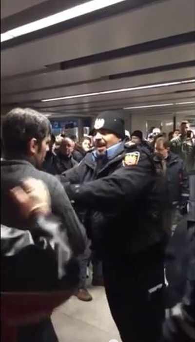 A frame of the startling video of an altercation at Union Station Jan. 29, 2015 involving TTC special constables and a father and son.