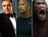 "Sean Connery in Diamonds Are Forever; Dwayne ""The Rock"" Johnson in Furious 7; and an ape from Rise of the Planet of the apes. (Handouts)"