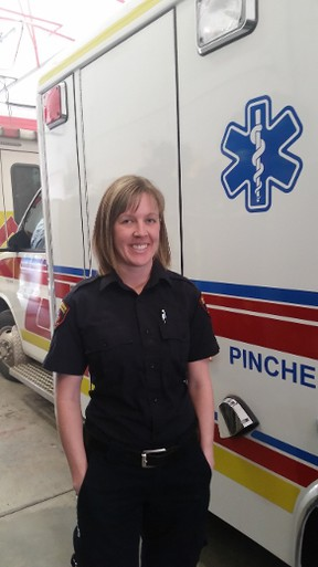 """""""Amanda Valin is one of our homegrown local heroes,"""" Cox said. """"She was born and raised in Pincher Creek, and we're proud to have her on our service."""" Photo submitted."""