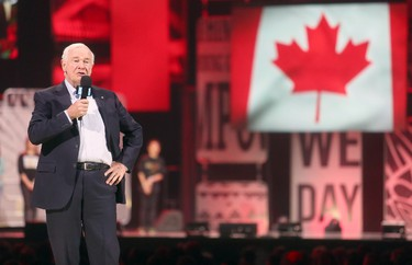 His Excellency the Governor General of Canada, David Johnston  speaks to a packed house at the National We Day Canada event held at Canadian Tire Centre, Apr. 1, 2015. The event is one of many held across North America and celebrates the youth movement for local and global change. Andrew Meade/ Ottawa Sun