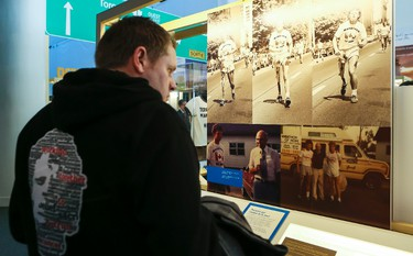 """Part of the exhibit at the Canadian Museum of History honouring the 35th anniversary of Terry Fox's heroic Marathon of Hope. The exhibition is entitled """"Terry Fox-Running to the Heart of Canada"""", will be on display from April 2, 2015 to January 24, 2016 at the museum. April 1, 2015. Errol McGihon/Ottawa Sun/QMI Agency"""