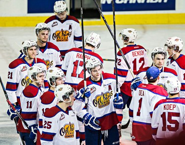 The Oil Kings react after losing during overtime of the Edmonton Oil Kings' WHL playoff hockey game against the Brandon Wheat Kings at Rexall Place in Edmonton, Alta., on Wednesday, April 1, 2015. The Wheat Kings won 3-2, ending the playoffs for the Oil Kings. Codie McLachlan/Edmonton Sun/QMI Agency