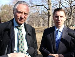 Paul Godfrey, left, and Derek Burney, right, announce their support on Thursday, April 2, 2015 for PC leadership candidate Patrick Brown. (Antonella Artuso/Toronto Sun)