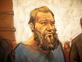 Muhanad Mahmoud al Farekh appears in court in New York in this April 2, 2015 court sketch.