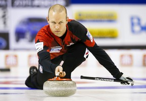 Canada's skip Pat Simmons delivers a rock against Finland during their bronze medal match at the World Men's Curling Championships in Halifax, Nova Scotia, April 5, 2015.    REUTERS/Mark Blinch