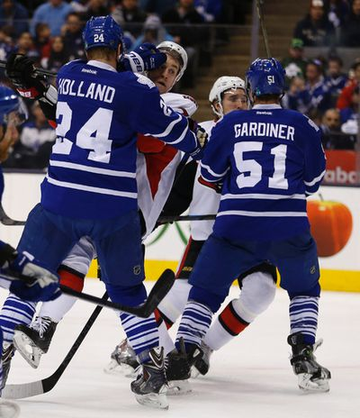 during the second period in Toronto on Monday April 6, 2015. Jack Boland/Toronto Sun/QMI Agency