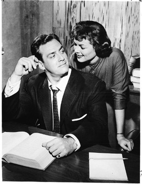 Actors Raymond Burr and Barbara Hall are shown in a publicity shot from the 1950s and 1960s television series Perry Mason. Robert Dennis, a former ballplayer from Courtright, was a writer on the show.   (Handout photo)
