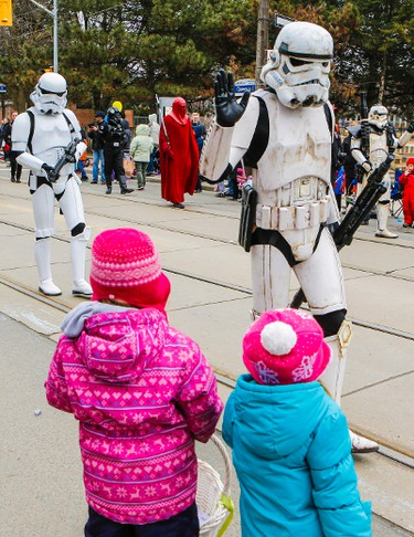 The Lion's Club, annual Easter Parade was just as colourful as usual as the bands marched across Queen St. in the Beach, in Toronto, Ont. Storm Troopers on Sunday April 5, 2015. Dave Thomas/Toronto Sun