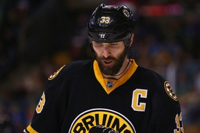 Zdeno Chara #33 of the Boston Bruins looks on during the game against the Buffalo Sabres during the second period at TD Garden on March 17, 2015 in Boston, Massachusetts. (Maddie Meyer/Getty Images/AFP)