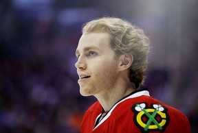 Patrick Kane #88 of the Chicago Blackhawks and Team Foligno skates during the Gatorade NHL Skills Challenge Relay event of the 2015 Honda NHL All-Star Skills Competition at Nationwide Arena on January 24, 2015 in Columbus, Ohio. (Gregory Shamus/Getty Images/AFP)