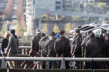 Crews block off the Georgia Viaduct to film a scene for the movie Deadpool staring Ryan Reynolds, Vancouver, B.C. on Tuesday April 7, 2015. Carmine Marinelli/Postmedia Network