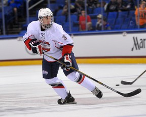 Defenceman Noah Hanifin playing for Team Olczyk at the All-American hockey prospects game in Buffalo this past September. Hanifin is projected by some pundits to go third overall at the NHL draft this summer. (Patrick McPartland/Sun Media file)