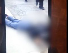 A screengrab from the video after the teenage victim was knocked unconscious.