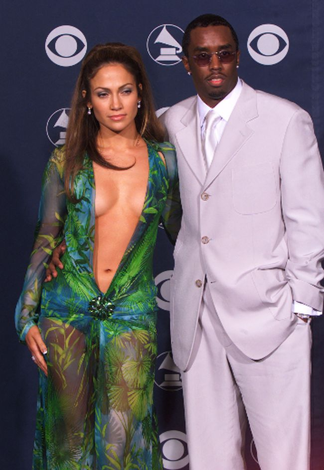 Jennifer Lopez and Sean Combs are seen together at the 42nd annual Grammy Awards in Los Angeles in this Feb. 23, 2000 file photo.      REUTERS/Mike Blake/Files