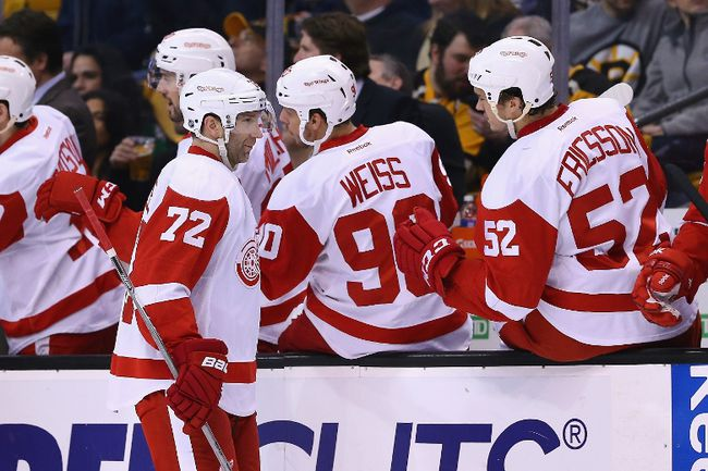 Erik Cole of the Detroit Red Wings is congratulated by teammates after scoring a goal against the Boston Bruins during the second period at TD Garden on March 8, 2015 in Boston. (Maddie Meyer/Getty Images/AFP)