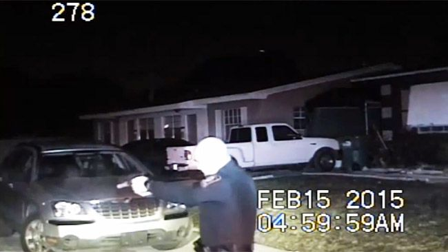 Police dashcam footage shows the shooting of Lavall Hall by Miami Gardens police in February. (YouTube)