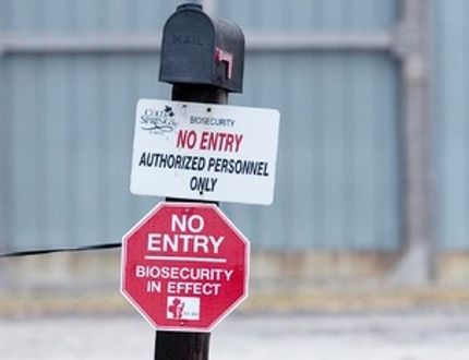 A sign at the entrance to a turkey farm on Hwy 2. (CRAIG GLOVER/The London Free Press file photo)