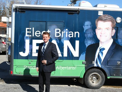 Alberta Wildrose leader Brian Jean leaves his campaign bus and joins other Calgary candidates kick off their election campaign in Calgary, Alta on Tuesday April 7, 2015. Jim Wells/Calgary Sun/QMI Agency