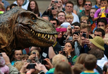 Visitors photograph an animatronic Tyrannosaurus Rex at the reopening of the National Museum of Scotland, after its three-year $47.7 million redevelopment in Edinburgh, Scotland July 29, 2011. REUTERS/David Moir