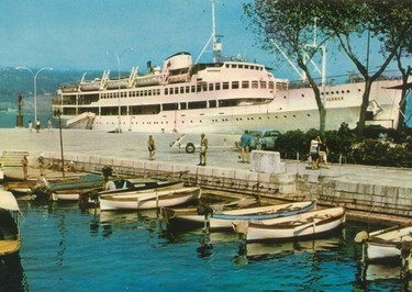 MV Jadran photographed at an Adriatic port soon after the vessel entered the cruise business in 1957. Almost 20 years later Jadran became a Toronto waterfront landmark. Her ultimate fate is scheduled to be determined on April 13, 2015.