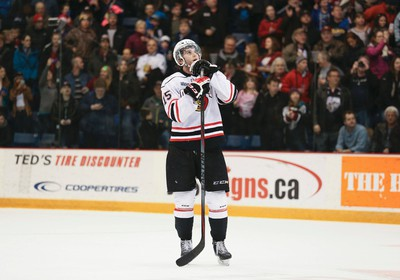 Owen Sound Attack's Holden Cook looks skyward following the Attacks 2-1 loss to the Guelph Storm in game 5 of the opening round of the 2015 Ontario Hockey League playoff series at the Sleeman Centre in Guelph, Ont. on Saturday, April 4, 2015. The Storm won the series four games to one.  James Masters/Owen Sound Sun Times/Sun Media