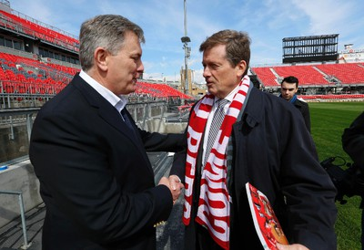 Toronto Mayor John Tory with Maple Leaf Sports & Entertainment CEO Tim Leiweke (l) as he toured the new renovations at BMO Field in Toronto  on Friday April 10, 2015. Michael Peake/Toronto Sun