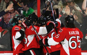 The Senators can clinch a playoff spot by earning at least one point against the Flyers in Philadelphia on Saturday. (Joel Watson/QMI Agency)